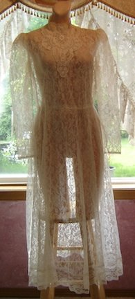 Vintage Victorian Style SHEER LACE Dress Sz. 11-12; Feminine/Sexy!!