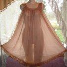 Vintage Mocha JENELLE Nightgown SHEER CHIFFON! Sz. L