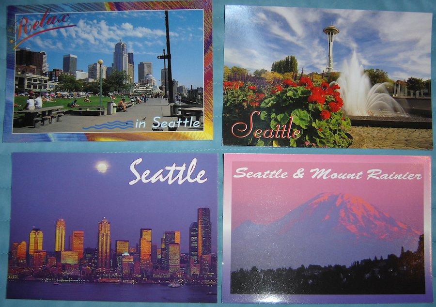 Vintage Seattle, WA, Skyline, Space Needle & Mt. Rainier Postcard Lot (4 Postcards)