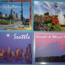 Vintage Seattle, WA, Skyline, Space Needle & Mt. Rainier Postcard Lot (4 Postcards)