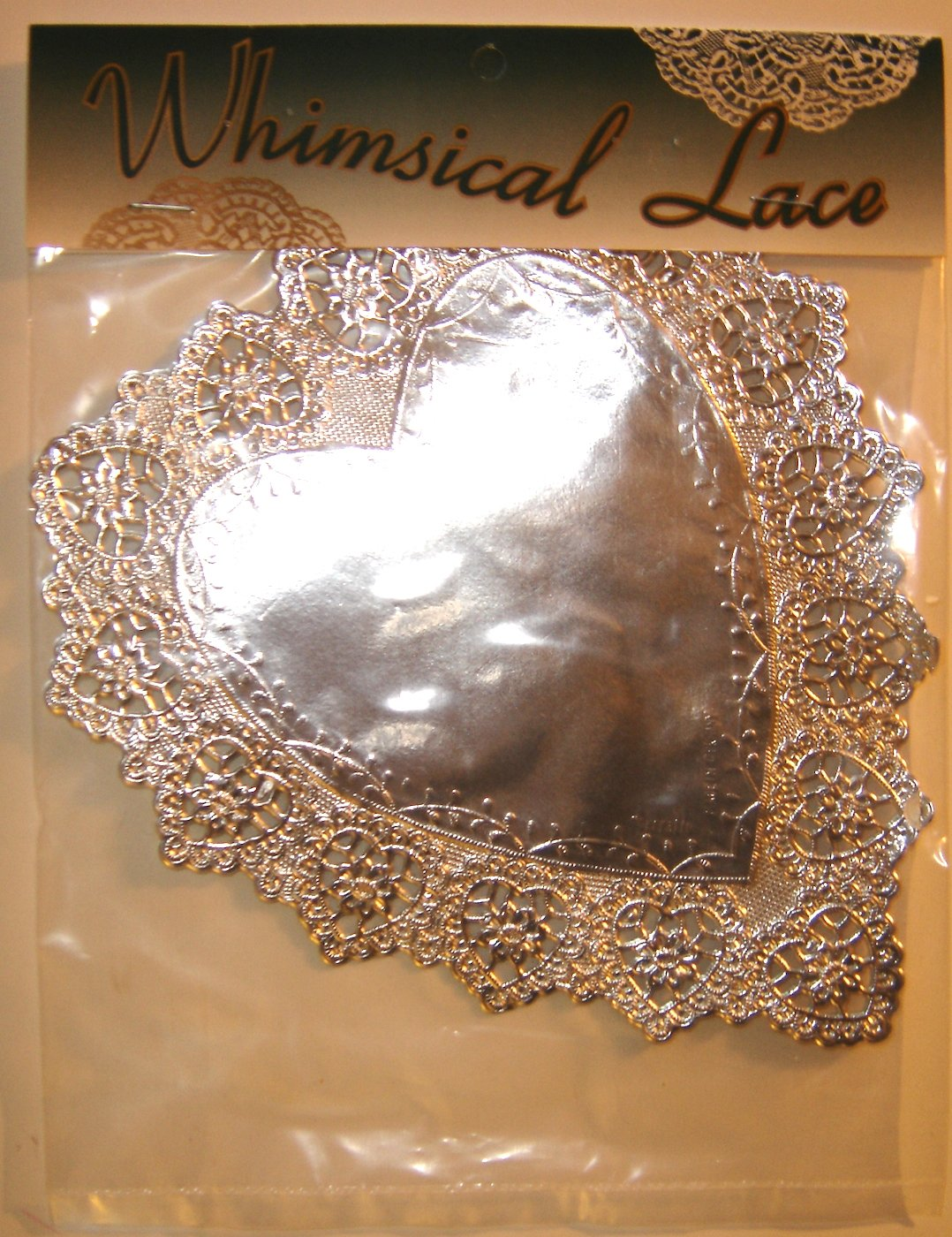 Whimsical Lace Silver Doilies, Sisson Imports, Made in Germany: HEARTS