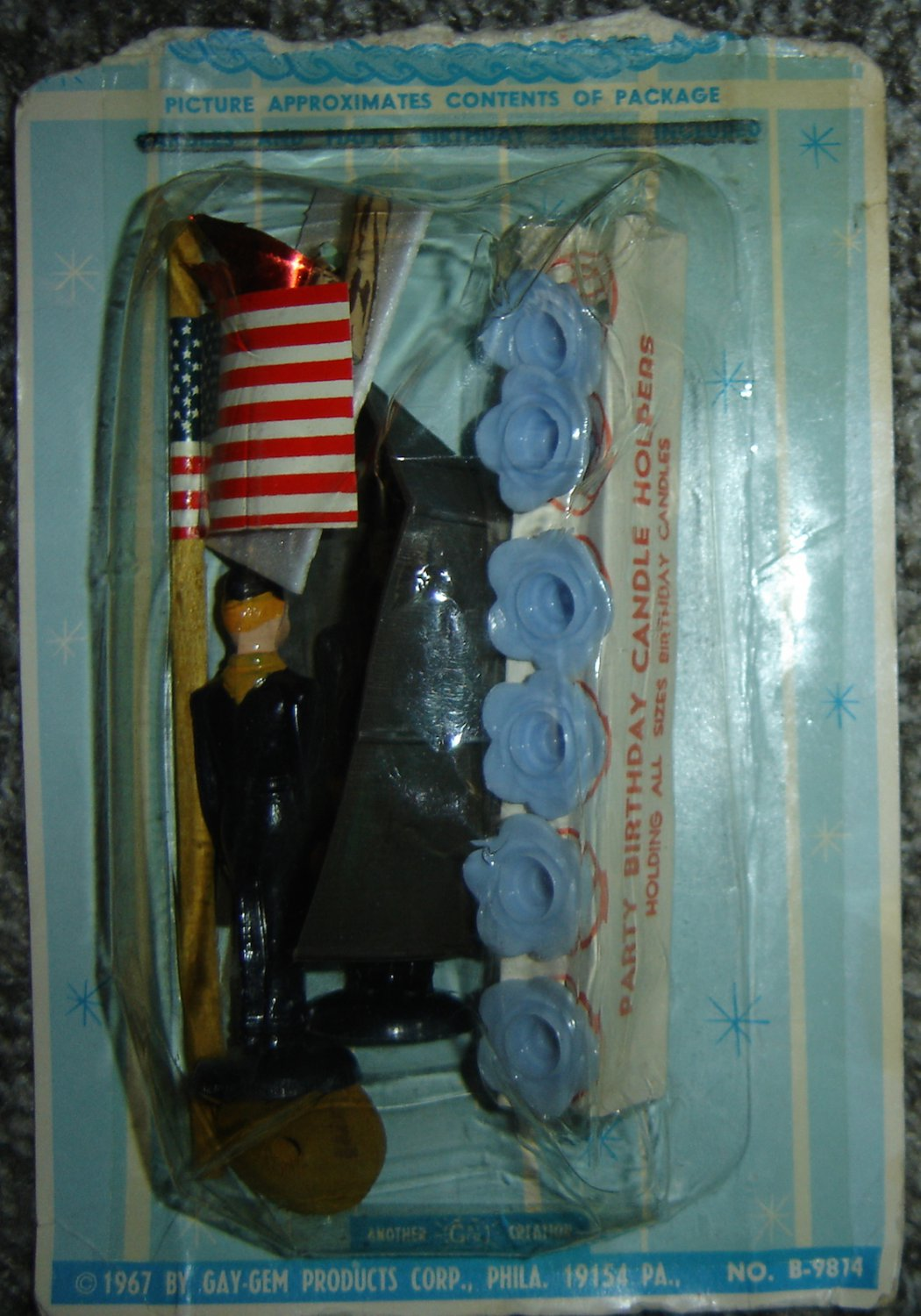 Vintage 1967 Gay-Gem Birthday Cake Decorations/Toppers; Patriotic, Navy, Boy Scouts