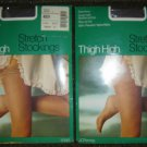 Vintage JC Penney Thigh High Stretch Stockings Lot (2 Pr.!) Queen, Smoke Grey