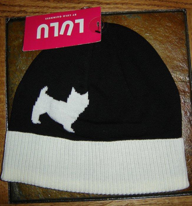 "Lulu Guinness ""Westie"" Dog Jacquard Beanie Cap Hat; NWT!"