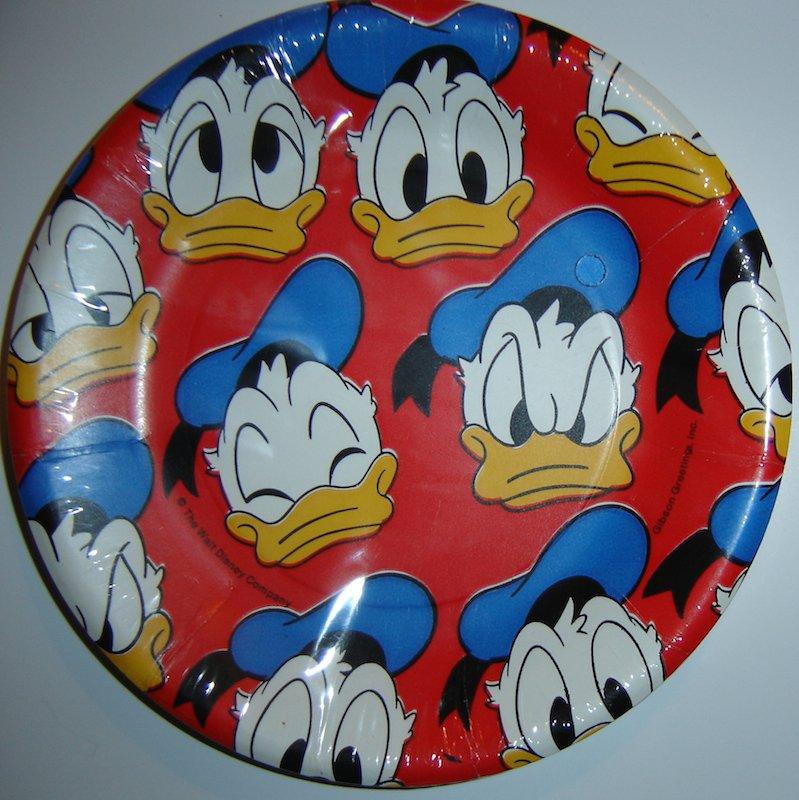 "Vintage Walt Disney Donald Duck Paper Dessert Plates (Pkg. of 8, 7"" in Diameter)"