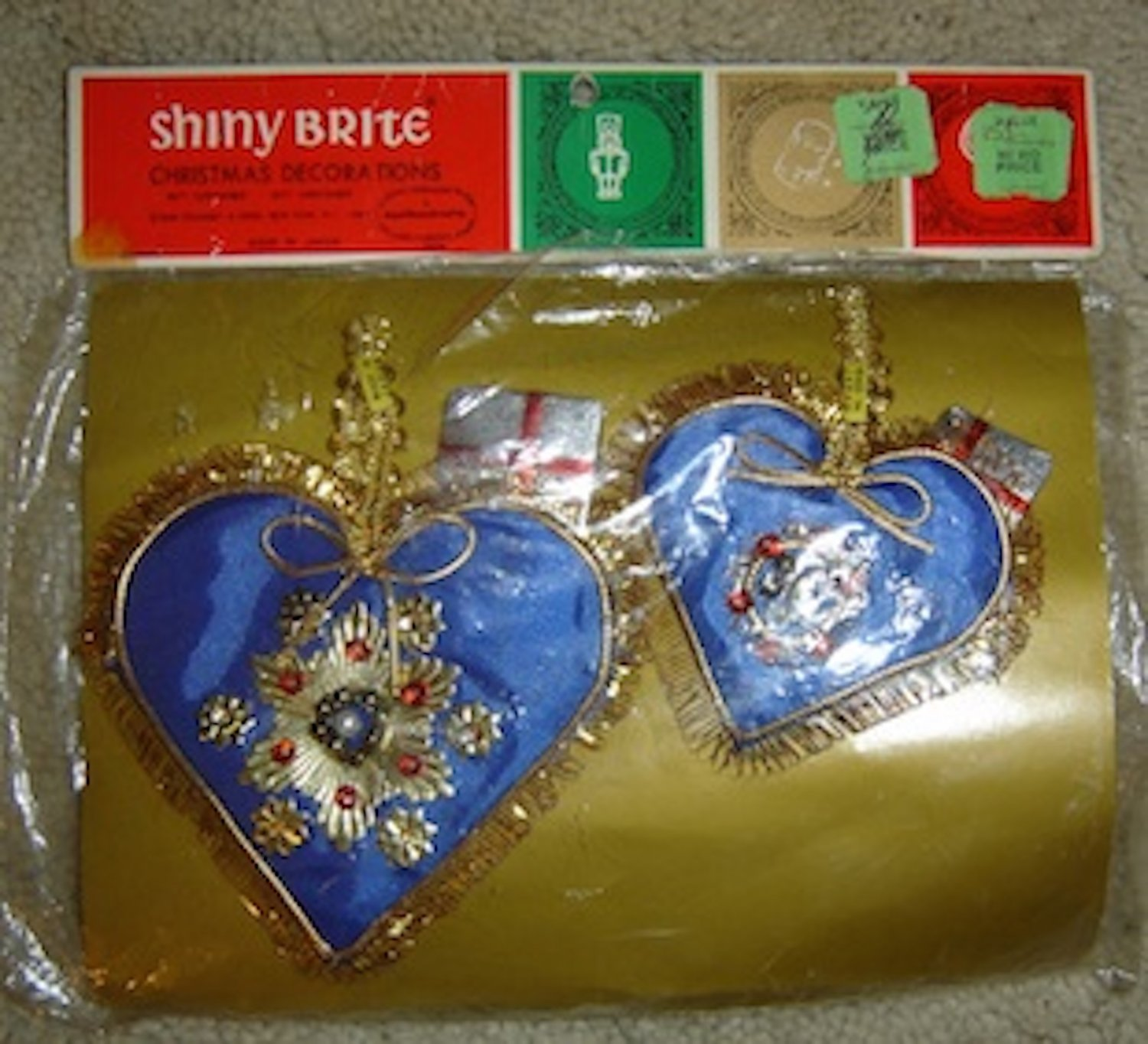 Vintage Shiny Brite Christmas Decorations/Ornaments, Japan, Blue/Gold Hearts