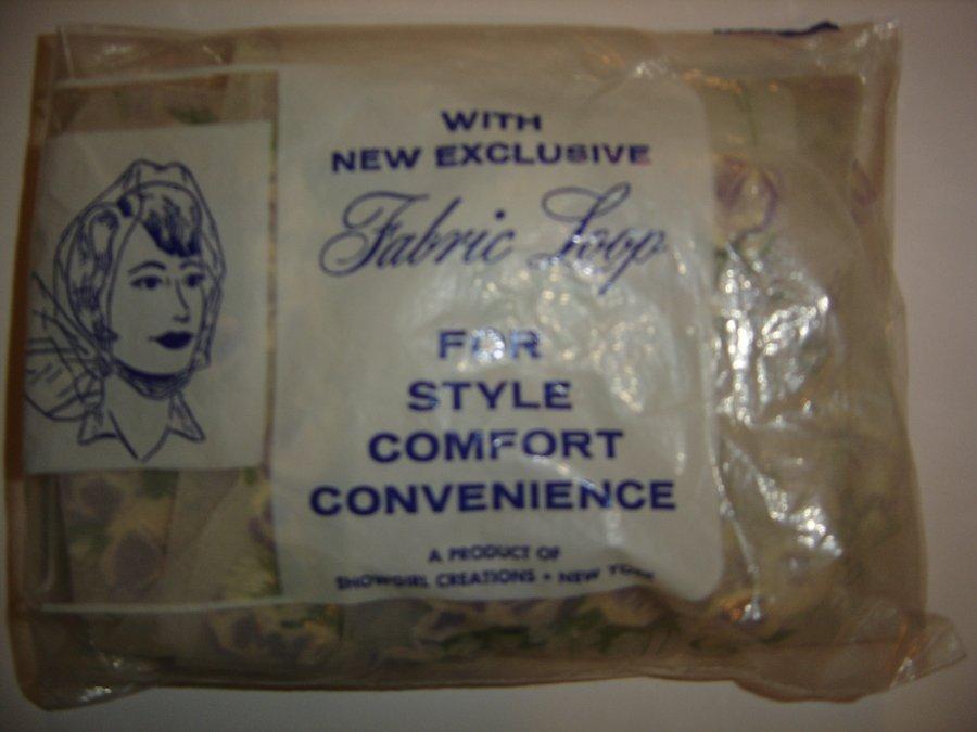 """Vintage Showgirl Creations Head Scarf """"Fabric Loop"""" Hair Net, Purple Roses! NIP!"""