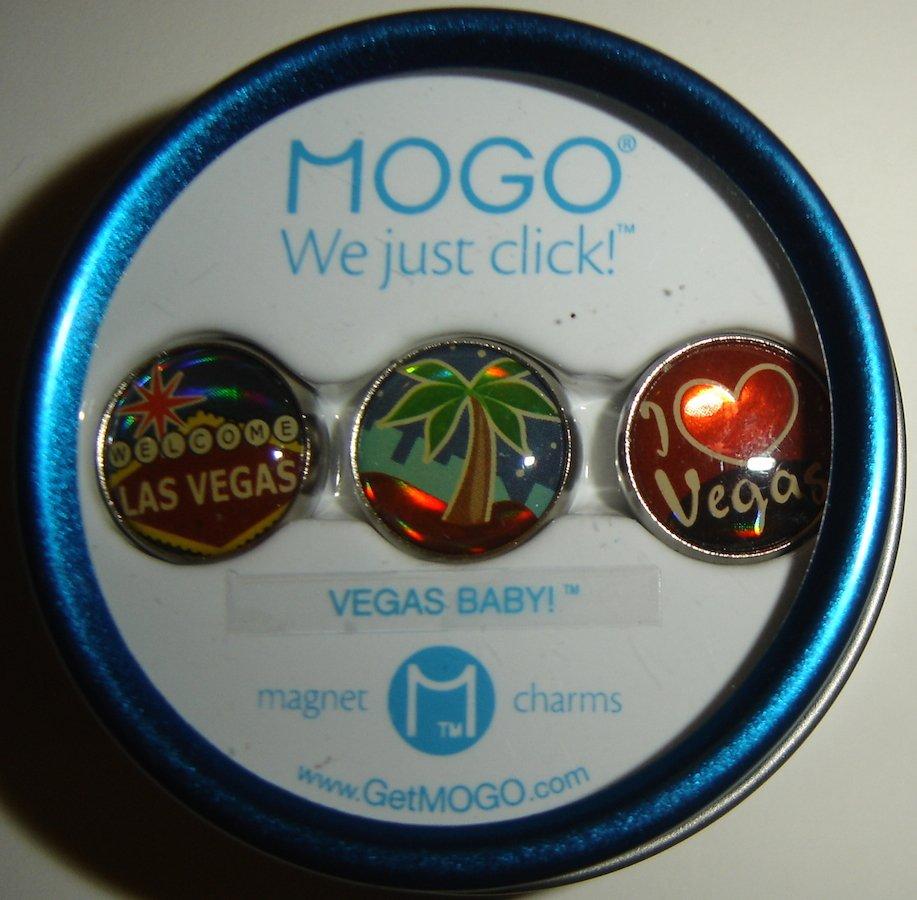 "MOGO Tin Collection ""Vegas Baby"" Las Vegas Themed Magnet Charms, NIP!"