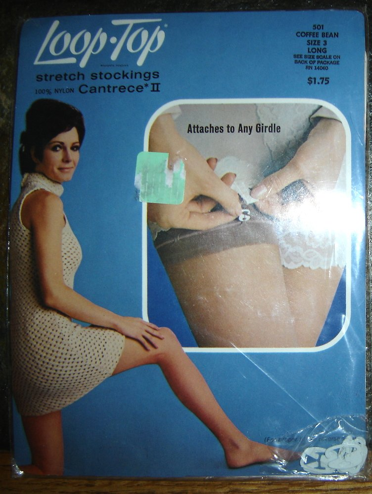 Vintage Loop Top Stretch Stockings, Coffee Bean, Size 3 Long; Includes Garter Attach.!