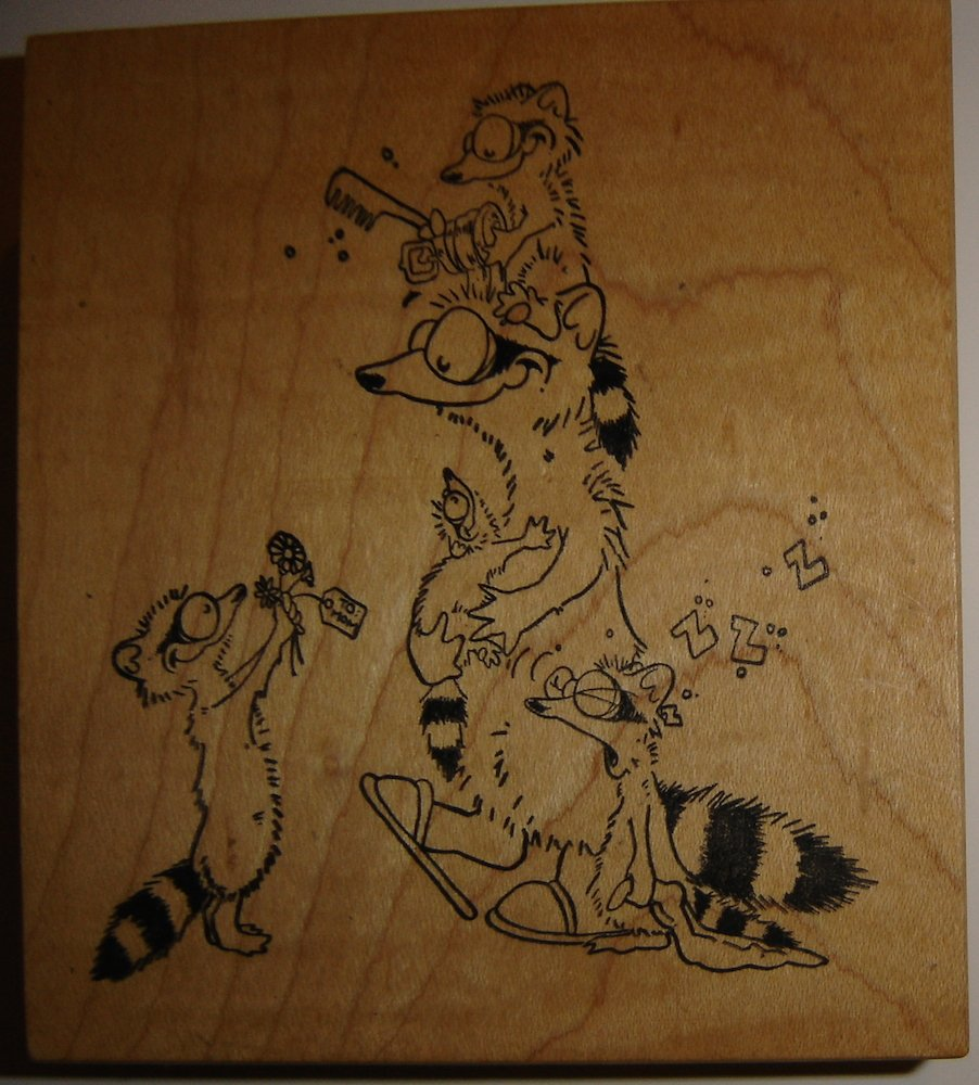 Stampa Rosa Wood Mounted Rubber Stamp by Terry Morin, Raccoon Family, Rare!