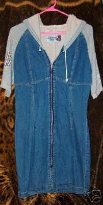 vintage zip up jean dress w/ hood by Diesel size M