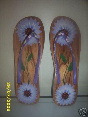 Ladies Wood sandals Purple Flowers Bare Feet sexy