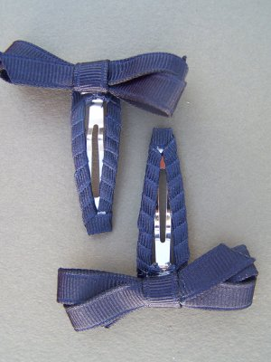 Angela's Accessories Navy Blue Snap Clips w/ Classic Bow