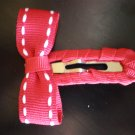 Red Saddle Stitched Snap Clip