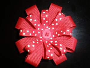 Angela's Accessories Red Polka Dot Flower Bow