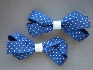 Angela's Accessories Royal Blue Polka dot Classic Bows