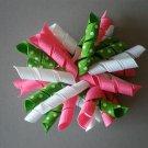 Angela's Accessories Pink/White/Green Polka-dot Korker Bow