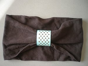 Angela's Accessories Brown Nylon Headband with teal ribbon