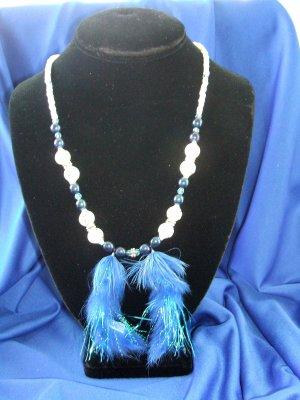 Blue Marabou Allure Necklace