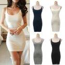 Hot Sale snug Long Vest Sleeveless Top Women's Cami Strap Bodycon Mini Dress
