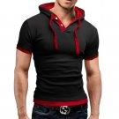 2016 New Fashion Men's Stylish Slim Fit Short Sleeve Polo Shirts T-shirt Hooded