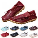 Women Lady Leather Loafers Comfort Casual Walk Bowed Flat Shoes Moccasin Durable