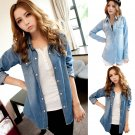 Women Mini Dress Denim Jeans Button Pocket Party Lady Long Sleeve T-shirt Blouse