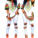 Women Traditional African Dashiki Dress Print Short Sleeve Mini Fashion Superb