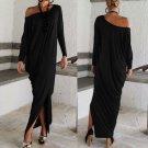Women Long Sleeve Off Shoulder Jersey Long Batwing Tunic Plain Dressing Fashion
