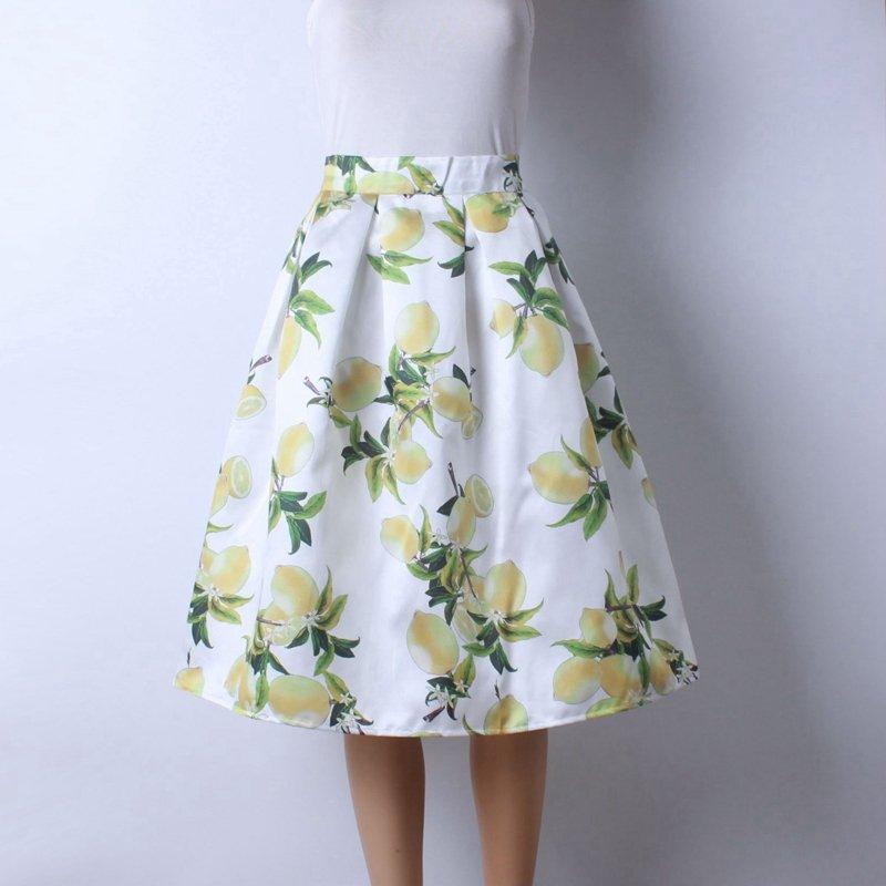 Women�s Hepburn Skirt A Line Pleated High Waist Midi Ball Gown Half Long Dress