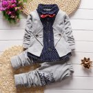 2pcs Toddler Kids Baby Boy Clothes Bow Tie Shirt Pants Outfit Set Long Sleeve