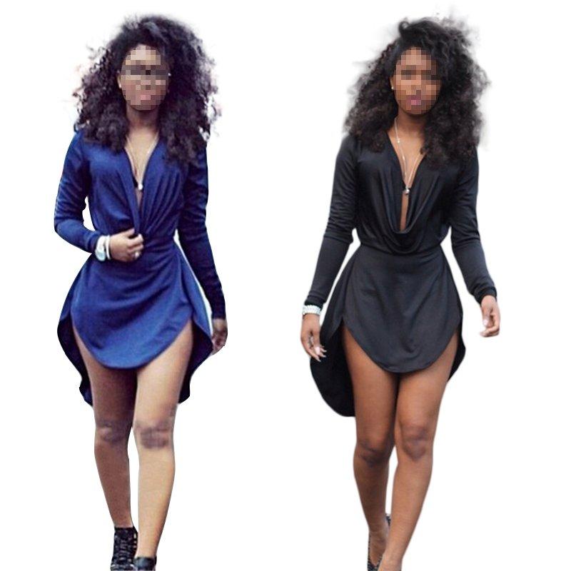 Women Long Sleeve V-neck Slim Bodycon Party Cocktail Evening Club Dress Cheap