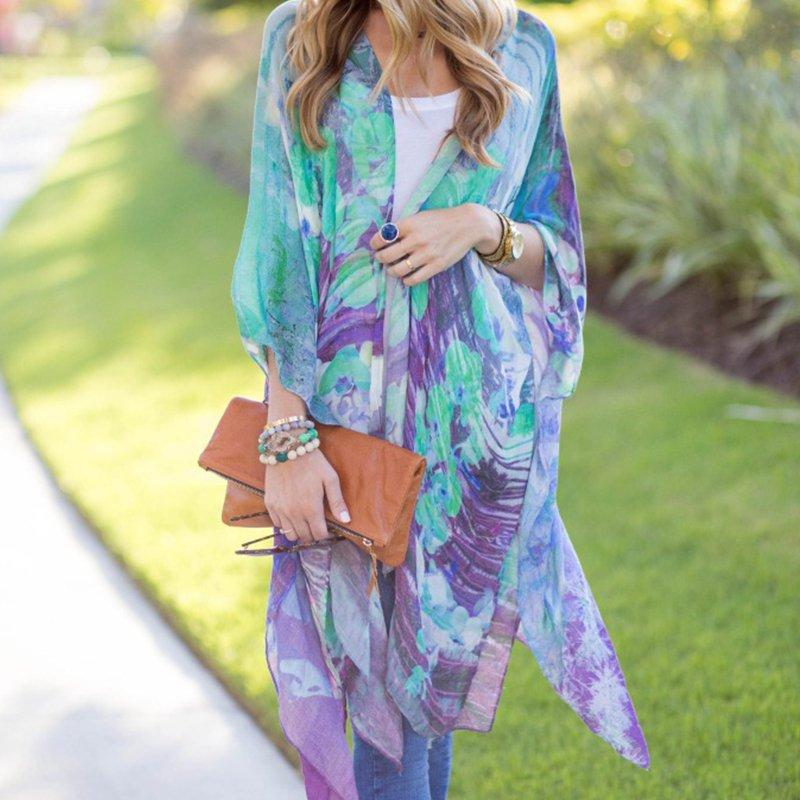 Women Boho Kimono Cardigan Chiffon Blouse Long Beach Cover Up Short Cosy HOT NEW