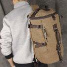 Men's Vintage Canvas Leather Hiking Travel Cylinder Messenger Tote Bag Backpack