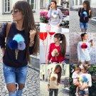 3D Women Long Sleeve Casual Jumper Plush Sweater Pullover Hoodie Sweatshirt HOT