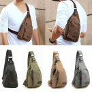 Men Vintage Canva Leather Satchel School Military Shoulder Messenger Travel Bag