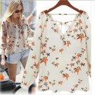 Chiffon Floral Print T Shirt Blouse Long Sleeve Womens Top Casual Shirts USL