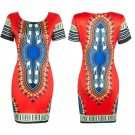 Women's Traditional African Print Dashiki Bodycon Short Sleeve Slim Dress 2016