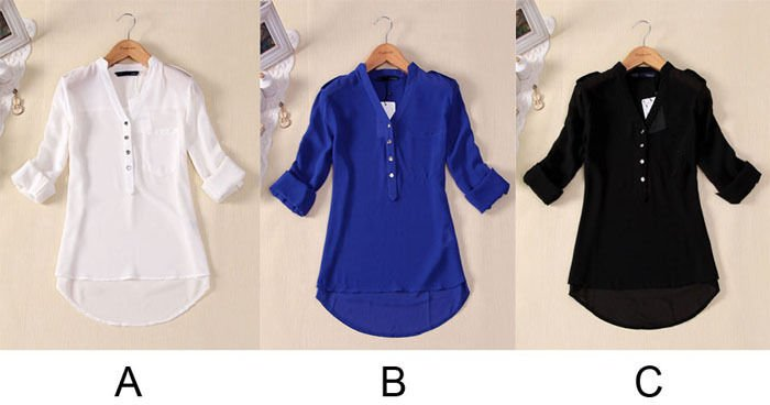 Womens V-neck Chiffon Long Sleeve Casual Elegant Blouse Loose Top Seller Vogue