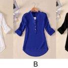 Womens V-neck Chiffon Long Sleeve Casual Elegant Blouse Loose Top Seller Vogue