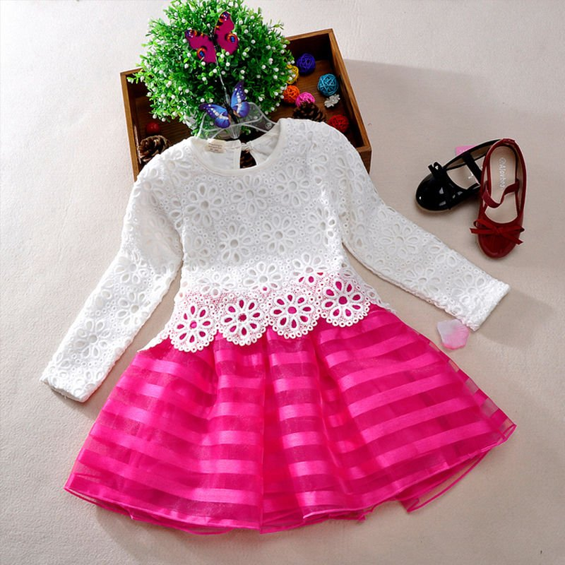 Spring Baby Girls Children Sweet Crochet Lace Long Sleeve Dress 3 color 3-8Years