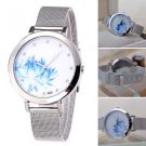 Stainless Steel Women Lady Fashion Blue Lotus Rhinestone Mesh Quartz Watch Best