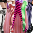 Womens Striped Stripey Over Knee Socks Long Neon Fancy Dress Beautiful Hot Cheap