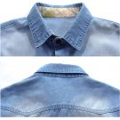 2016 Men's Denim Casual Shirts Long Sleeve Slim Fit Mens Jeans Shirt Top Clothes