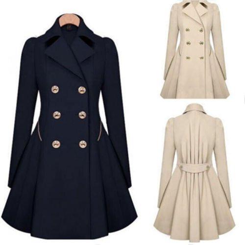 Womens Slim Double Breasted Trench Coat Long Outwear Overcoat Windbreaker FLV