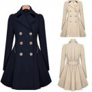 Womens Slim Double Breasted Trench Coat Long Outwear Overcoat Windbreaker FLV