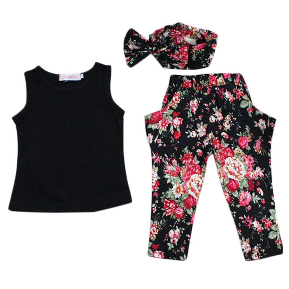 3PCS Baby Girl Floral 2-8Y Kids  Outfits T-shirt Pants Hair Band Set Summer New