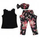 3PCS Baby Girl Floral 2-8Y Kids  Outfits T-shirt Pants Hair Band Set Summer New