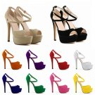WOMENS PEEP TOE STRAPPY PLATFORM STILETTO LADIES HIGH HEEL SANDAL SHOES US Size