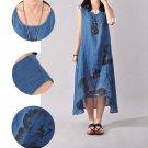 Plus Women Sleeveless Loose Cotton Linen Summer Sundress A-line Tank Dress 2016